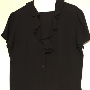Tops - Black blouse with ruffle neck